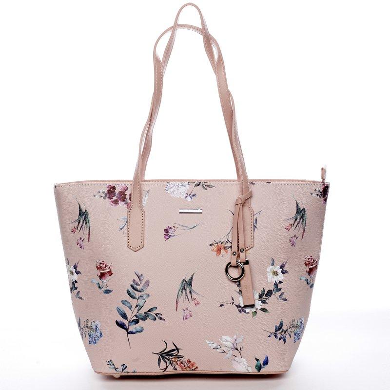 Romantická dámská koženková květovaná kabelka Nina růžová