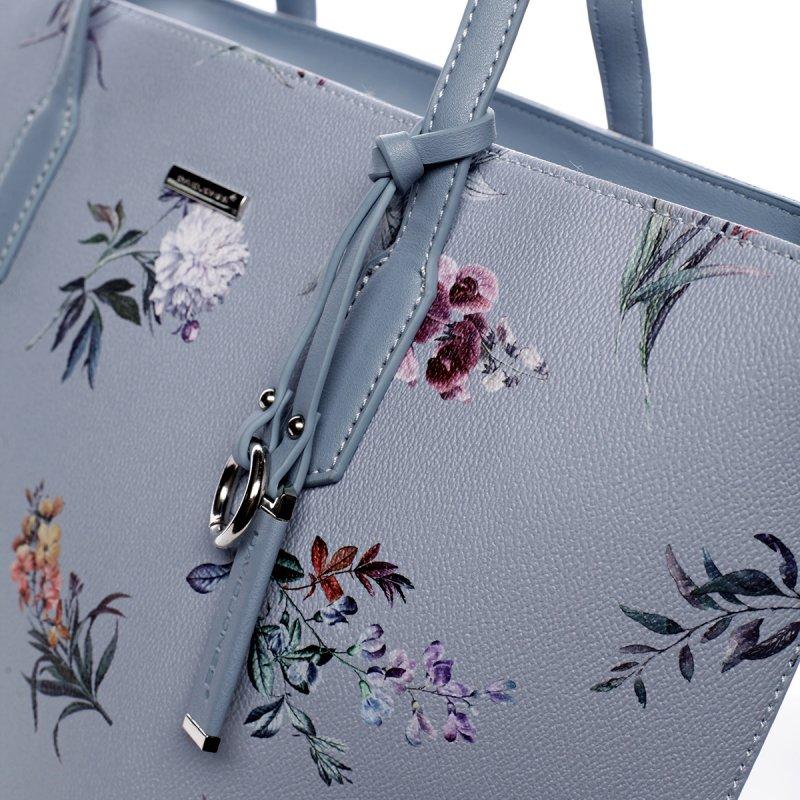 Romantická dámská koženková květovaná kabelka Nina modrá