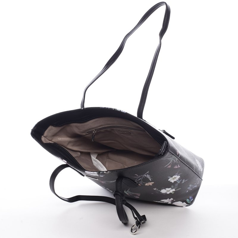 Romantická dámská koženková květovaná kabelka Nina černá