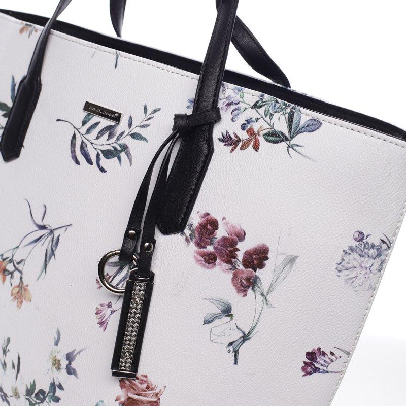 Romantická dámská koženková květovaná kabelka Nina bílá
