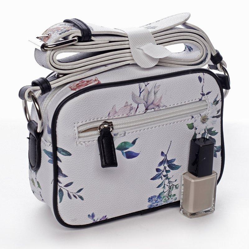 Romantická menší dámská koženková květovaná kabelka Ida bílá