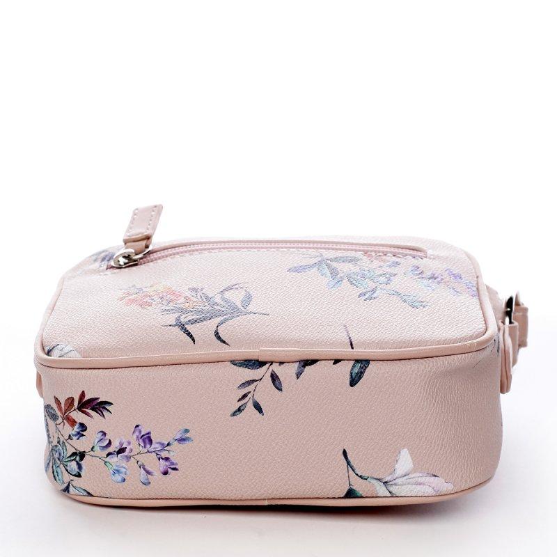 Romantická menší dámská koženková květovaná kabelka Ida růžová