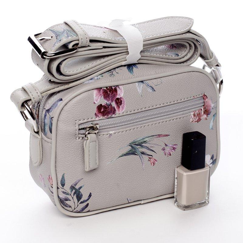 Romantická menší dámská koženková květovaná kabelka Ida šedá