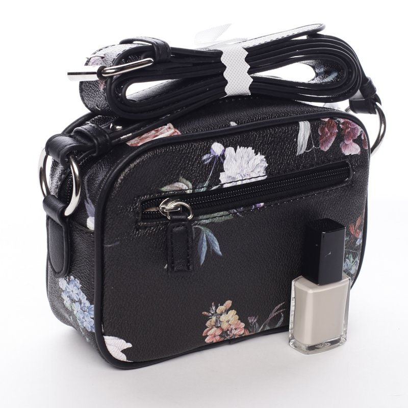 Romantická menší dámská koženková květovaná kabelka Ida černá