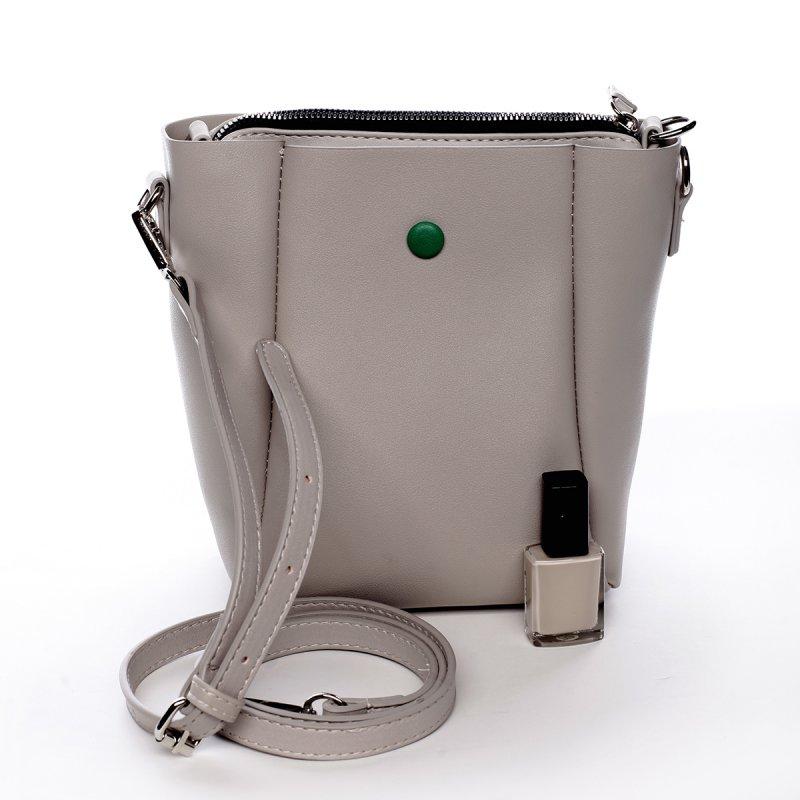 Designová koženková kabelka Dina krémová