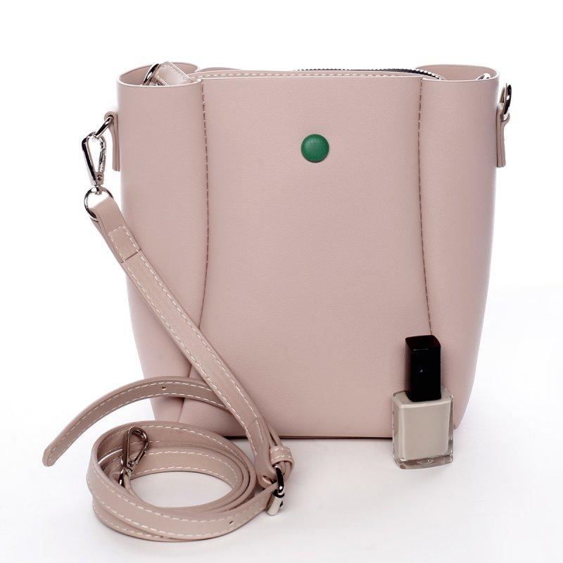 Designová koženková kabelka Dina růžová