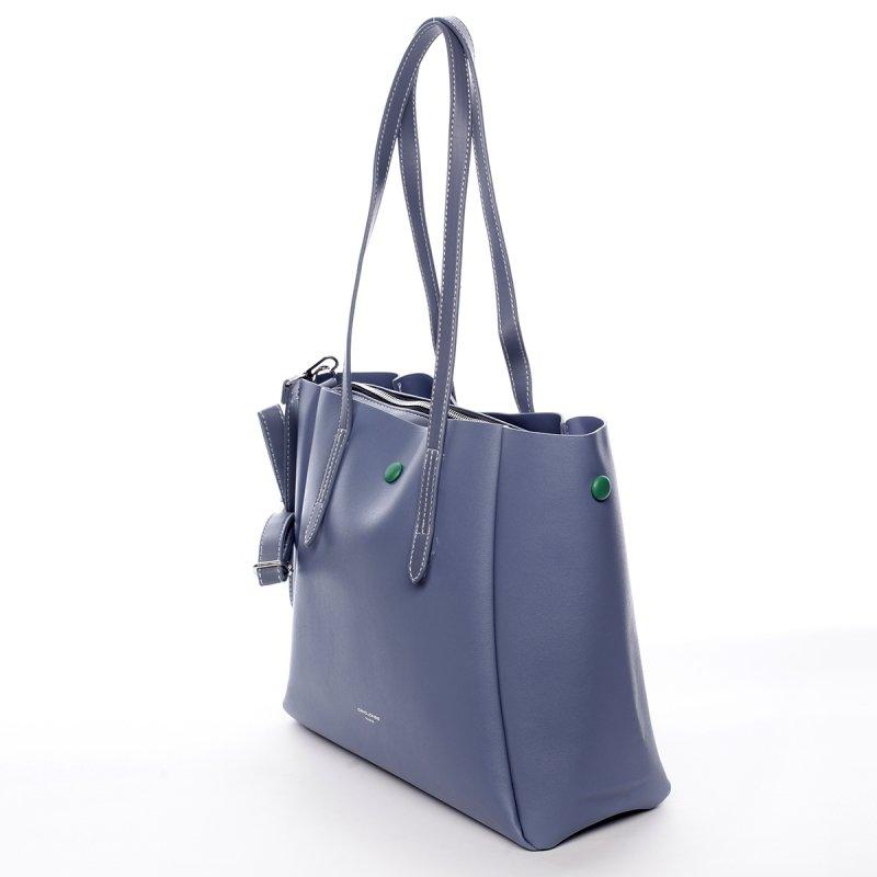 Designová koženková kabelka Dariana modrá