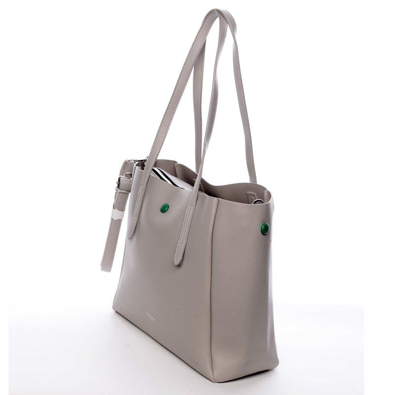 Designová koženková kabelka Dariana krémová