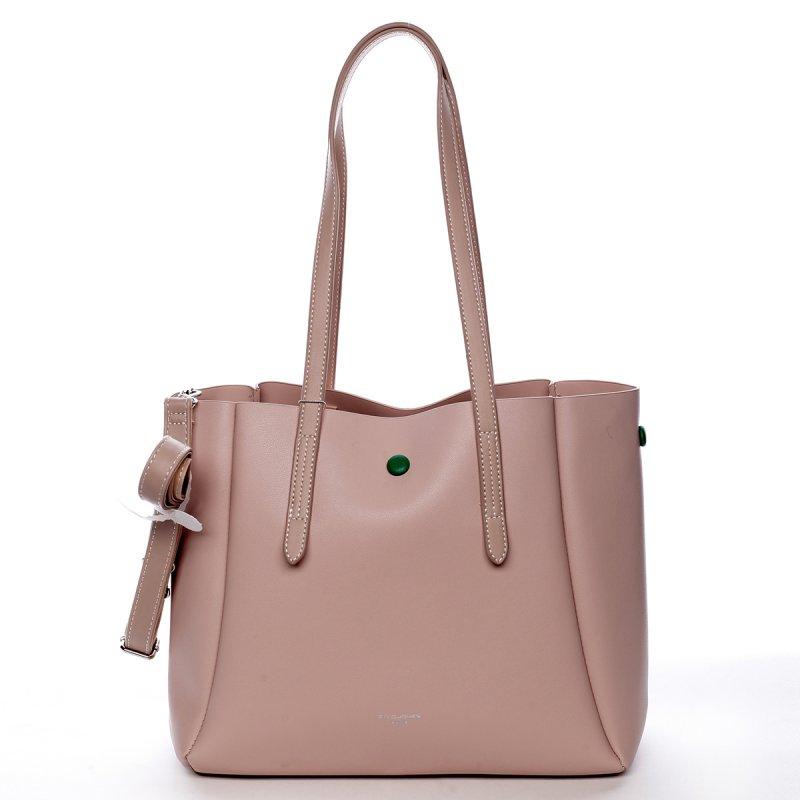 Designová koženková kabelka Dariana růžová