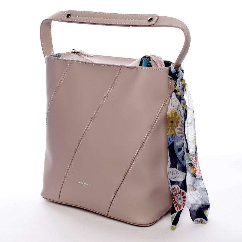 Moderní dámská koženková kabelka s vnitřní taškou a šátkem Elsa růžová