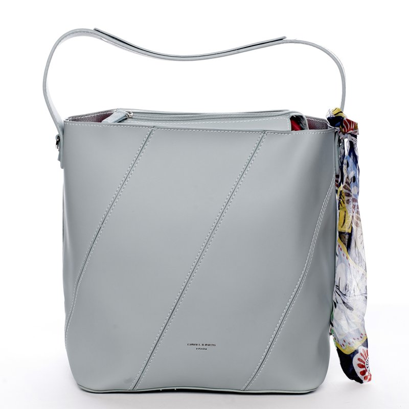 Moderní dámská koženková kabelka s vnitřní taškou a šátkem Elsa šedá