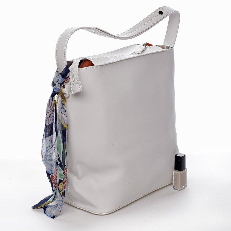 Moderní dámská koženková kabelka s vnitřní taškou a šátkem Elsa bílá
