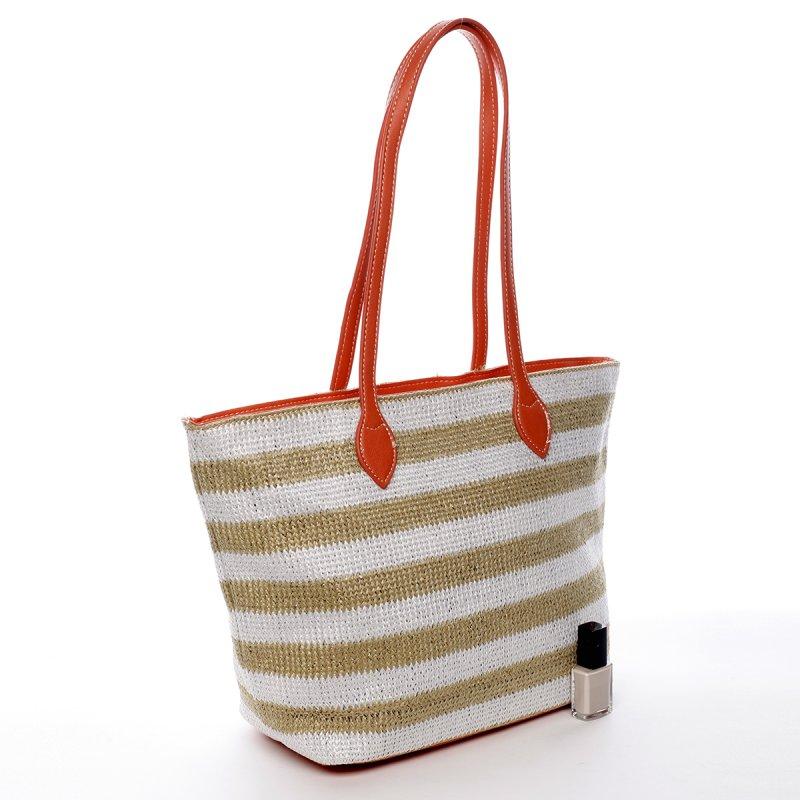 Letní koženkovo textilní taška Navy Stripes béžovo oranžová