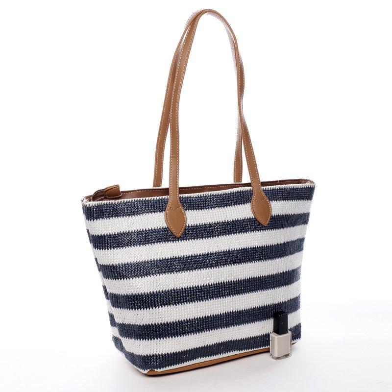 Letní koženkovo textilní taška Navy Stripes béžovo modrá
