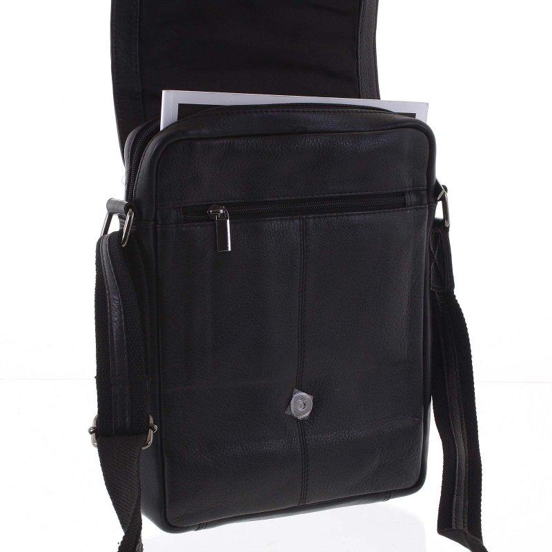 Pánská moderní kožená taška Silvestr černá