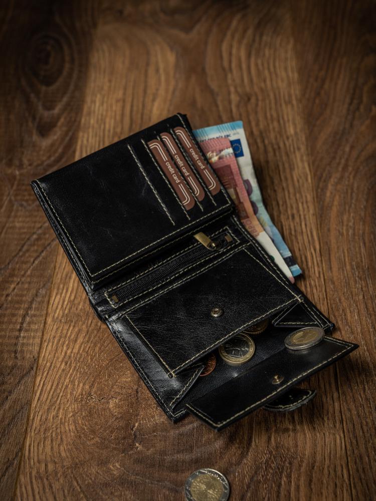 Praktická pánská kožená peněženka Raul, černá