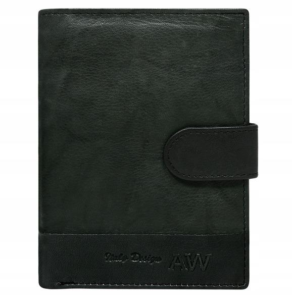 Kožená elegantní pánská peněženka AW, černá