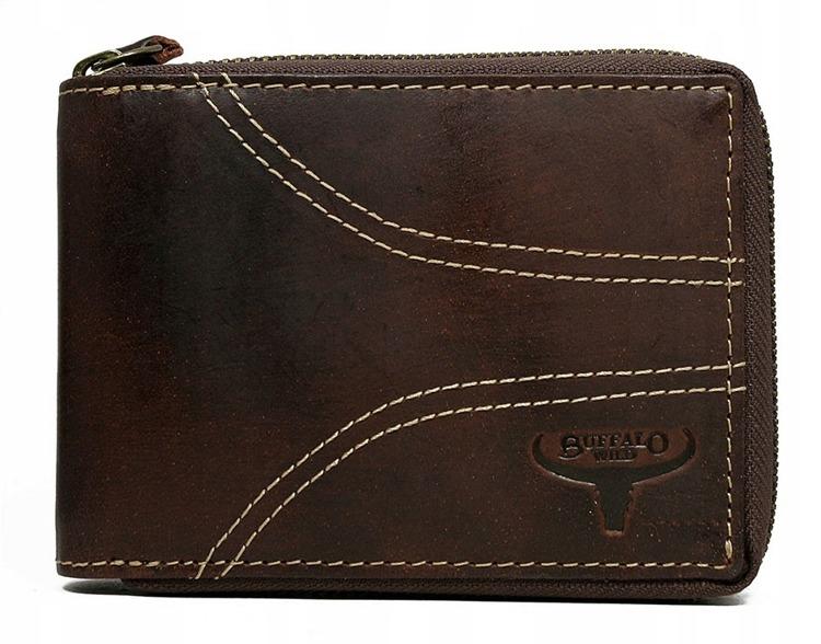 Pánská prošívaná peněženka na šířku z kůže Clooney, hnědá