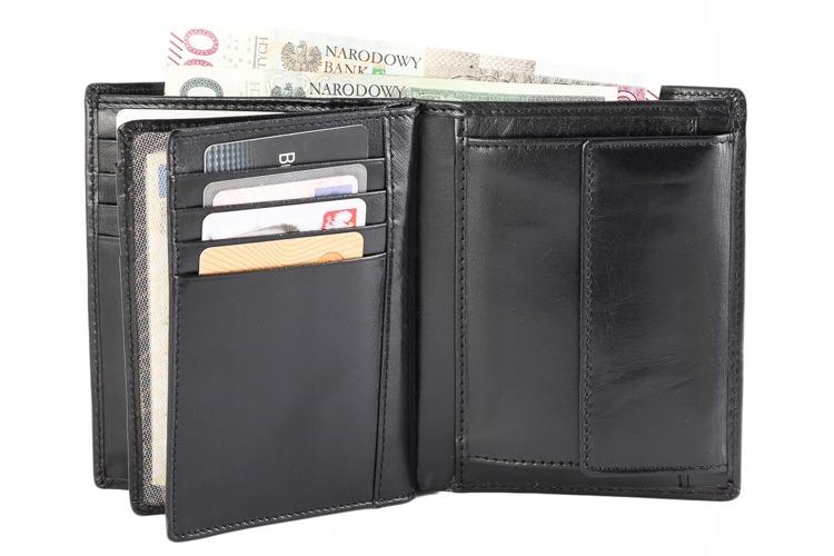 Peněženka pánská z kůže na výšku Tom, černá