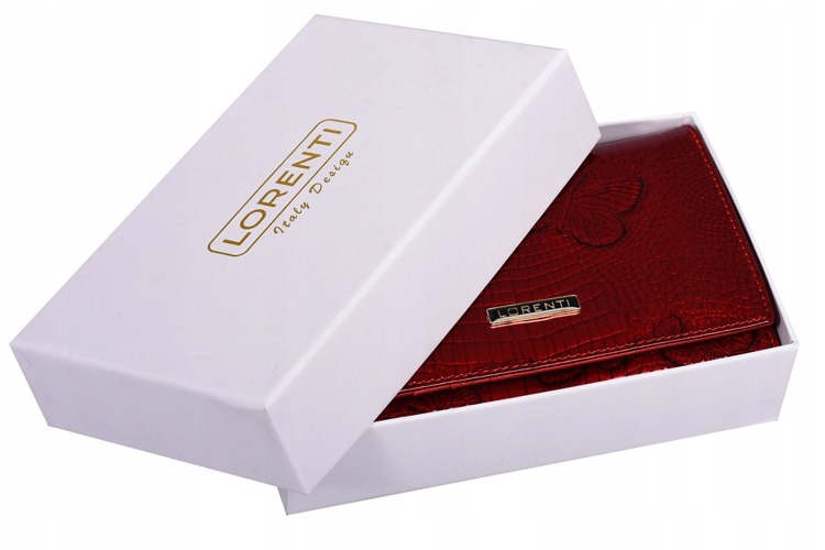Červená peněženka s motýly z přírodní kůže Jil