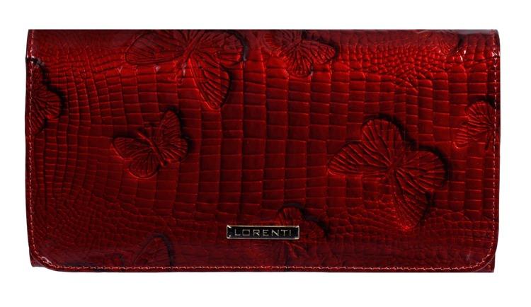 Lakovaná dámská peněženka s motýly July, červená