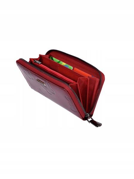 Elegantní kožená peněženka s motýlím vzorem, červená