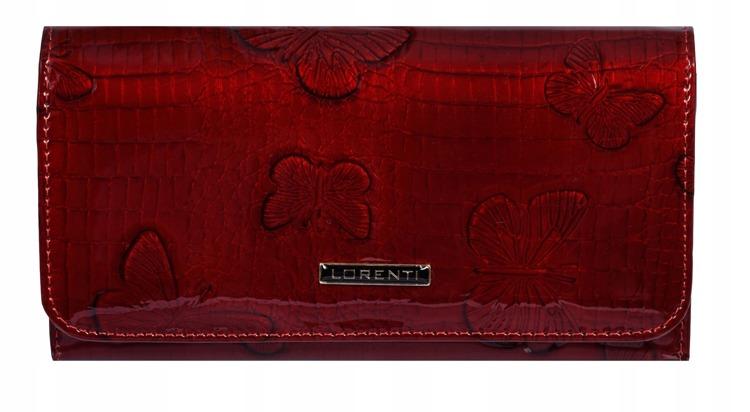 Větší kožená peněženka s motýly Jean, červená