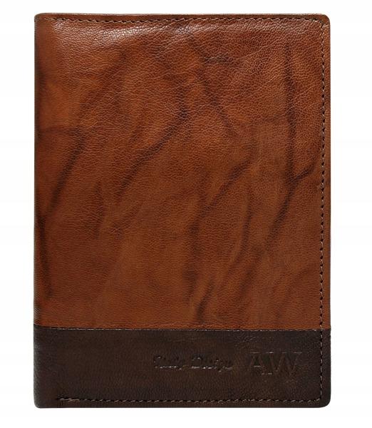 Prošívaná pánská kožená peněženka Bruno, světle hnědá