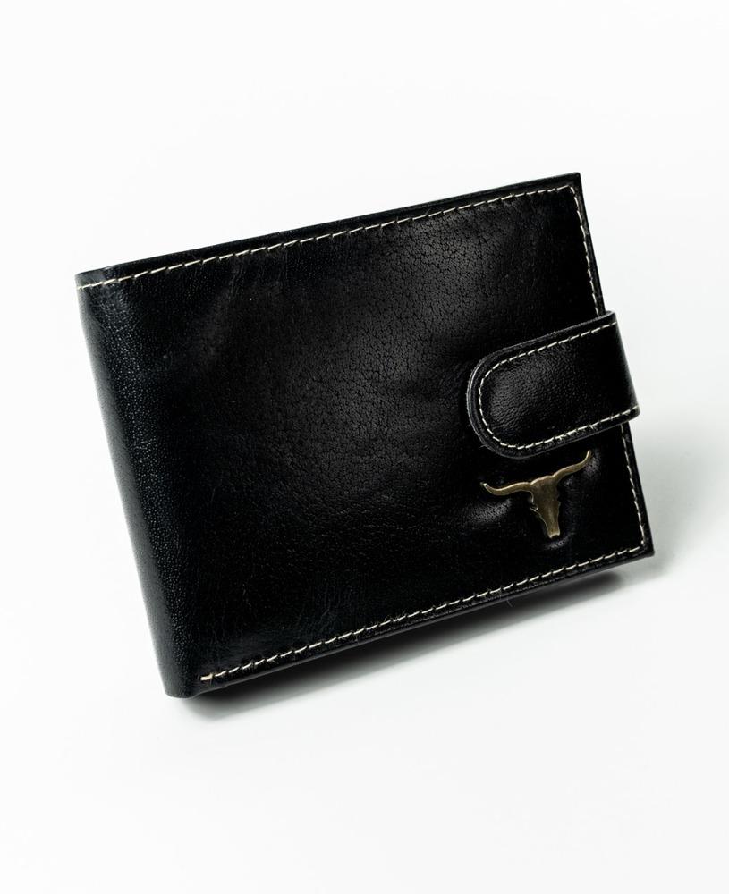 Kožená pánská peněženka se sponou Rio, černá