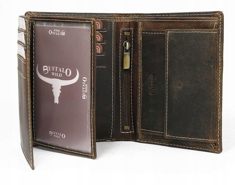 Moderní kožená peněženka Buffalo, hnědá