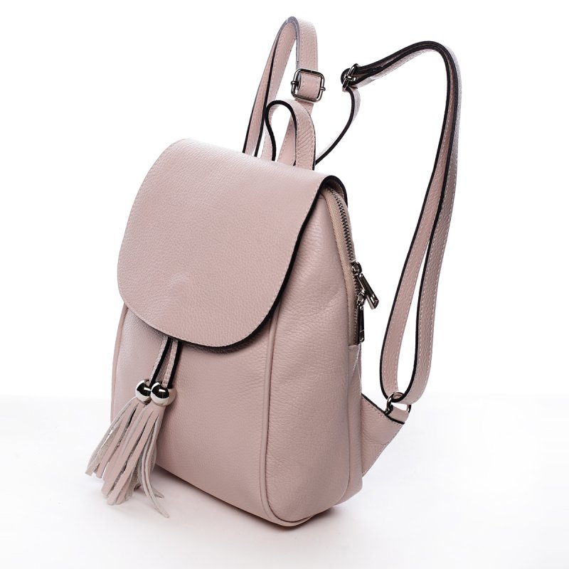 Originální kožený kabelko-baťůžek HELENE, růžový