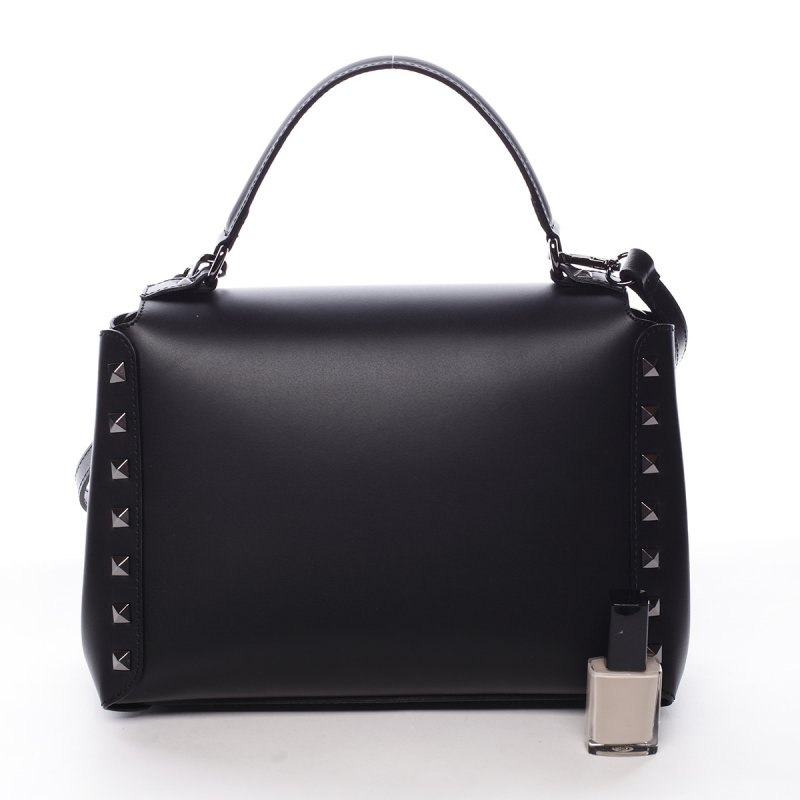 Moderní kožená kabelka do ruky DOMINIQUE, černá