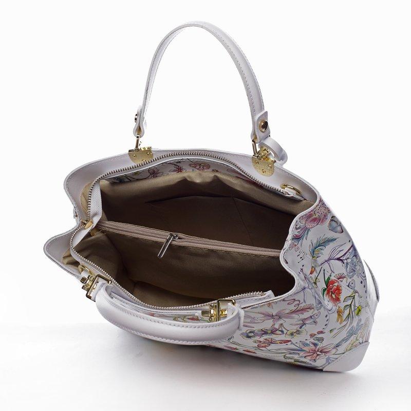 Okouzlující letní kožená kabelka MADELEINE, bílá s květy