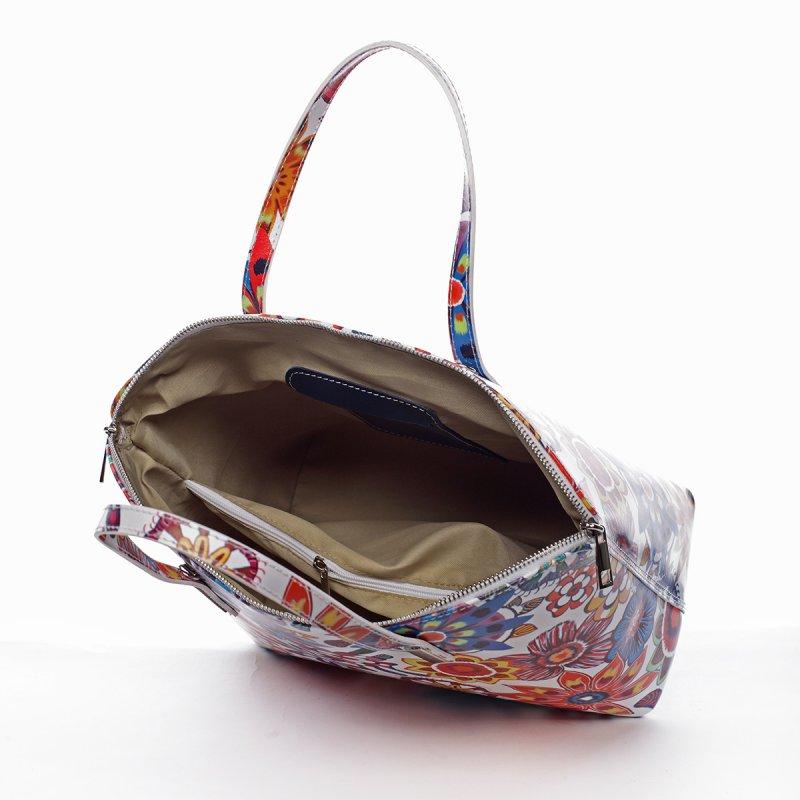 Kožená svěží kabelka CHRISTINE, bílá s květy