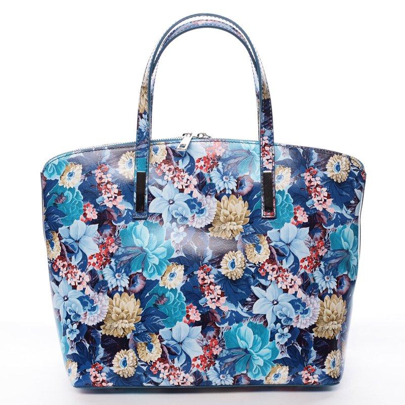 Kožená svěží kabelka CHRISTINE, modrá s květy