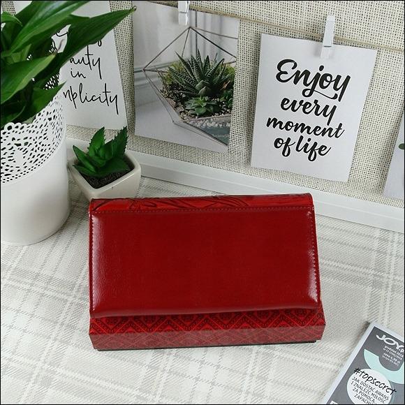 Delší kožená dámská peněženka s motýly Katia, červená