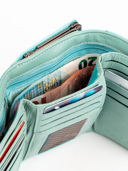 Hladká tyrkysová kožená peněženka Vendy