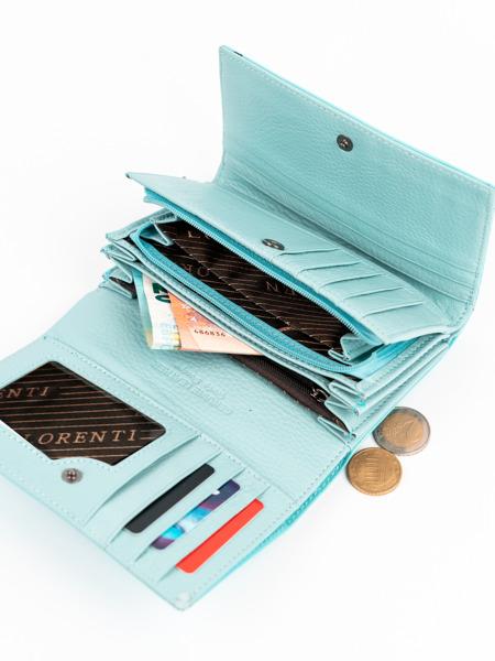 Moderní tyrkysová kožená peněženka Clay