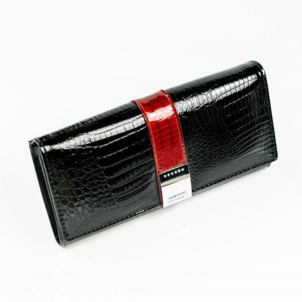 Elegantní lesklá kožená peněženka Imma, černá
