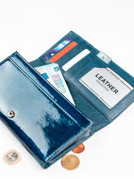 Exkluzivní lakovaná kožená dámská peněženka Freya, modrá