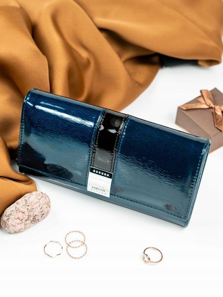 Prostorná lakovaná kožená peněženka Dina, modrá