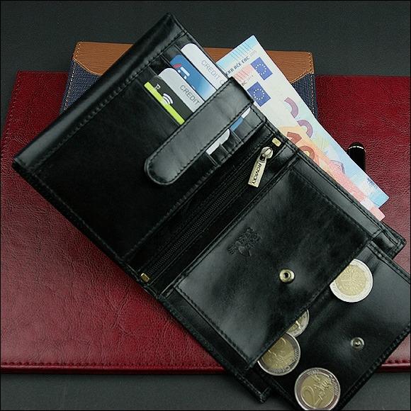Praktická pánská kožená peněženka na výšku Cleo, černá