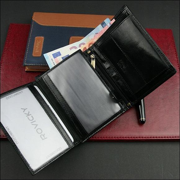 Hladká pánská kožená peněženka na výšku Phil, černá