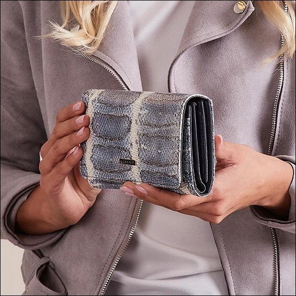 Dámská kožená peněženka se vzorem hadí kůže, modrá