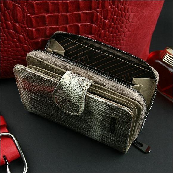Kožená dámská peněženka vzor hadí kůže, zlatá