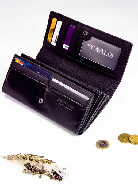 Dámská lesklá kožená peněženka Candice, černá