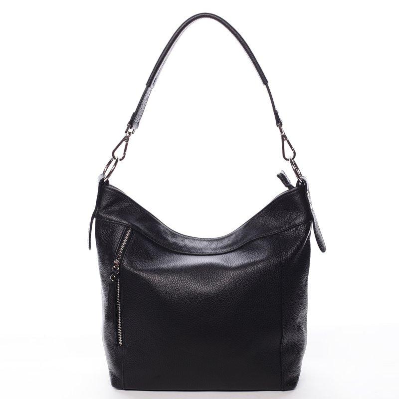 Kožená dámská kabelka přes rameno ELODIE, černá