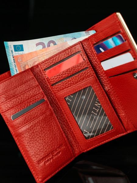 Lesklá kožená peněženka Gili, červená