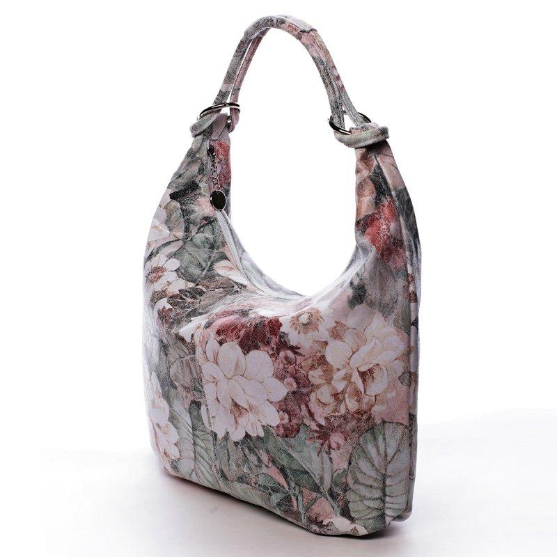 Fascinující kožená kabelka přes rameno MARGUERITE, bílá+květy