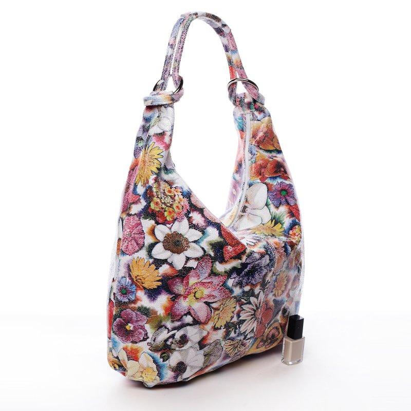 Fascinující kožená kabelka přes rameno MARGUERITE, barevné květy